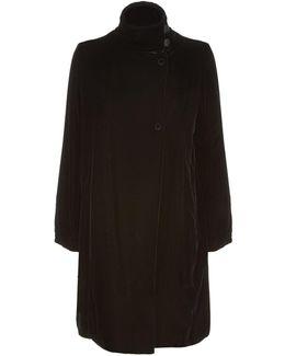 Funnel Neck Velvet Coat