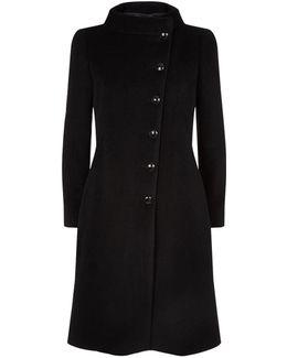 Asymmetric Button Front Coat