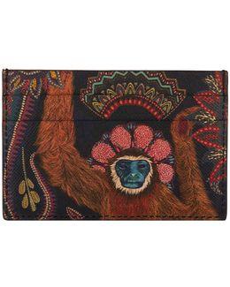 Monkey Print Leather Card Holder