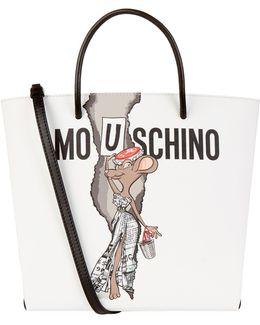 Printed Leather Shopper Bag