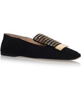 Sr1 Jewelled Suede Flats