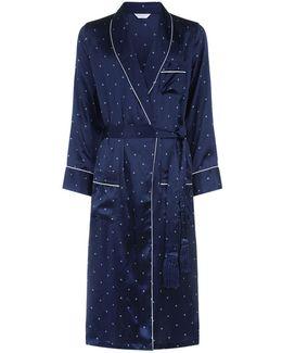 Diamond Print Silk Dressing Gown