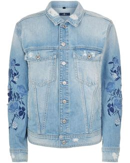 Embroidered Floral Sleeve Denim Jacket