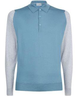 Merino Knit Long Sleeve Polo Shirt