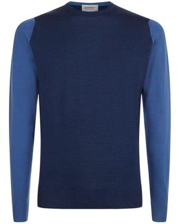 Contrast Sleeves Merino Wool Jumper