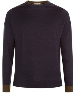 Tipped Collar Knit Sweater