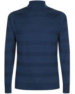 Tonal Stripe Rollneck Sweater