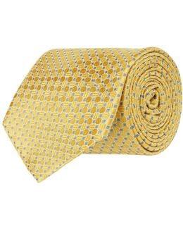 Two-tone Circle Print Silk Tie