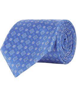Flower Motif Silk Tie