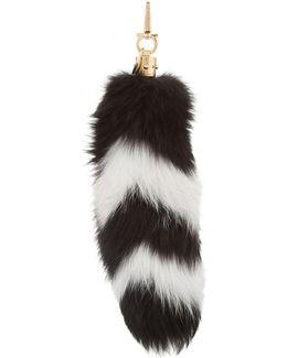 Striped Fox Fur Keyring