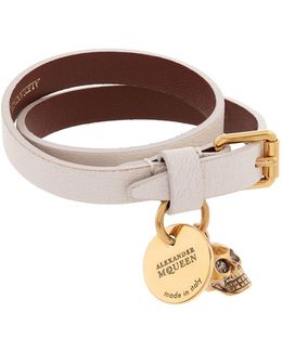 Double Wrap Leather Skull Bracelet