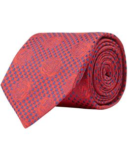 Houndstooth Rose Tie