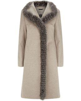 Asymmetric Fox Fur Trim Coat