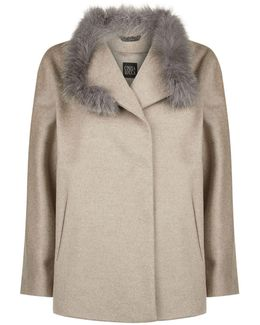 Fur Collar Funnel Coat