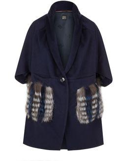 Fur Pocket Wool Cape