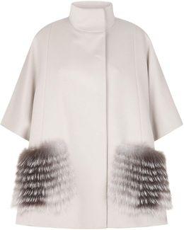 Fox Fur Trim Wool Cape