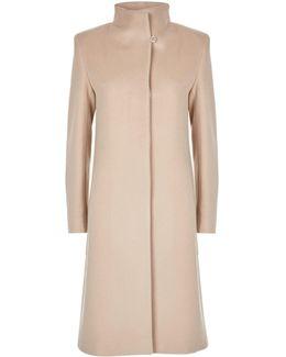 Funnel Neck Long Wool Coat