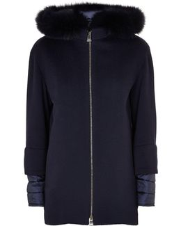 Fur Trim Hooded Quilted Down Layer Coat