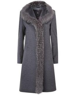 Fox Trim Wool Coat