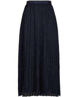 Lurex Pleated Midi Skirt