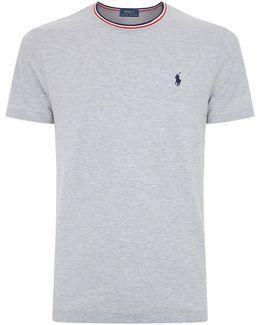 Stripe Trim Pique Cotton T-shirt