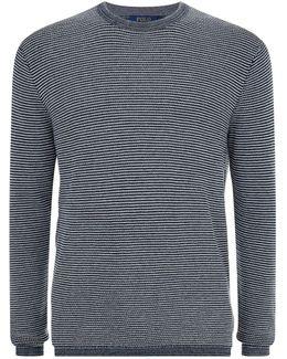 Striped Crew Neck Cotton-cashmere Sweater