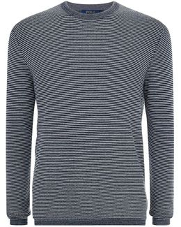 Striped Crew Neck Cotton-cashmere Sweater
