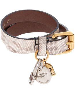 Snake-embossed Double Wrap Bracelet