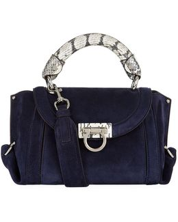 Small Sofia Suede And Snakeskin Cross Body Bag