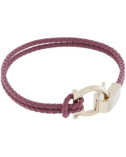 Gancio Leather Braided Bracelet