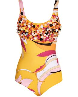 Embellished Fiore Print Swimsuit