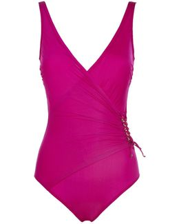 Surplice Ruched Wrap Swimsuit