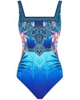 Square Neck Extra Coverage Printed Swimsuit