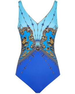V-neck Extra Coverage Printed Swimsuit