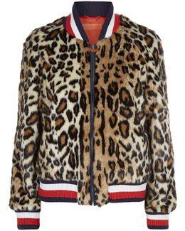 Leopard Print Striped Bomber Jacket