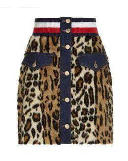 Leopard Print Faux Fur Denim Skirt