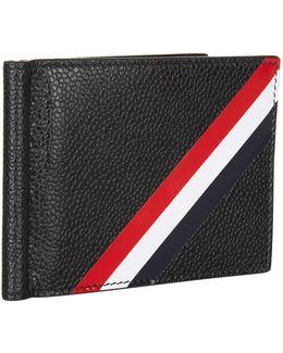 Leather Diagonal Stripe Bifold Wallet