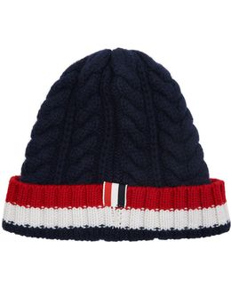 Aran Cable Striped Beanie Hat