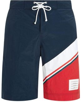 Diagonal Stripe Board Shorts