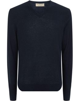 V-neck Cotton And Cashmere Elbow Patch Sweater