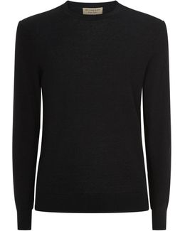 Crew Neck Cotton And Cashmere Elbow Patch Sweater