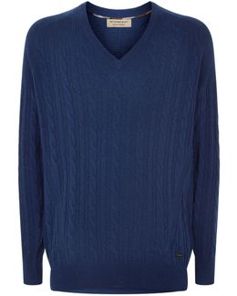 Cashmere Cable Knit V-neck Sweater
