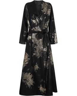 Floral Jacquard Long Kimono