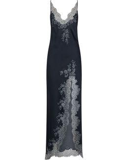Chantilly Lace Trim Silk Split Nightdress