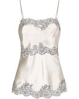 Tiered Lace Insert Silk Camisole