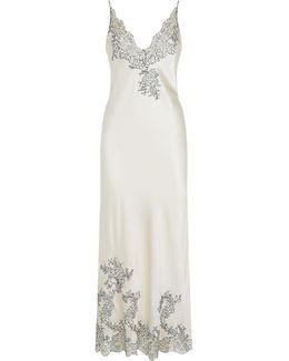 Chantilly Lace Trim Silk Nightdress