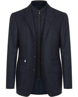 Wool Insert Zip-up Jacket