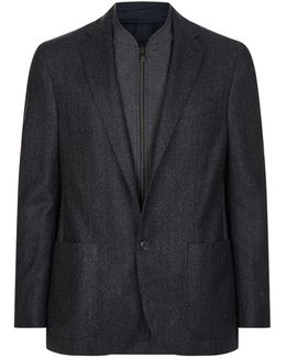 Zip Insert Herringbone Jacket