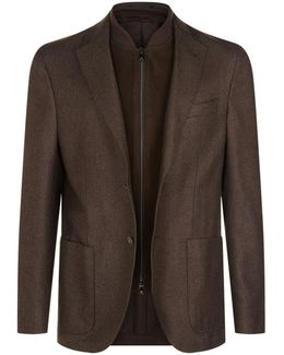 Suede Insert Zip-up Jacket