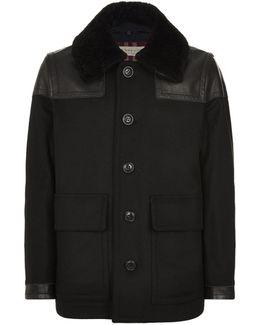 Leather Panelled Short Coat